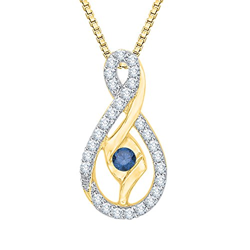 Sirena Diamond Necklace - Center Blue and White Diamond Pendant Necklace in 10K Yellow Gold (1/4 cttw) (Color GH, Clarity I2-I3)