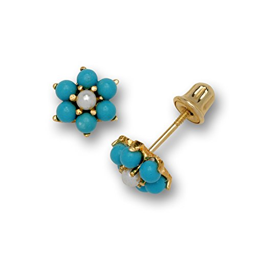Jewelryweb Solid 14k Yellow Gold Small Simulated Turquoise Flower Stud Screw-back Earrings (6mm)