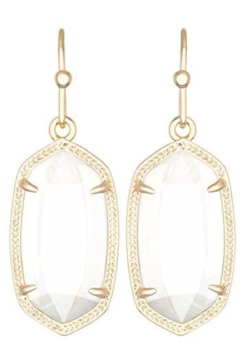 Kendra Scott Signature Dani Earrings in White Mother of Pearl and Gold (Gold Plated Mother Of Pearl Earrings)