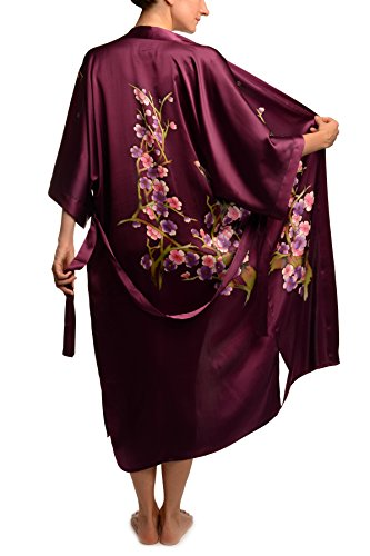 Purple With Sakura Bloom Luxurious Silk Dressing Gown (Robe) - Violet Robe de Chambre Taille Unique (165 cm)