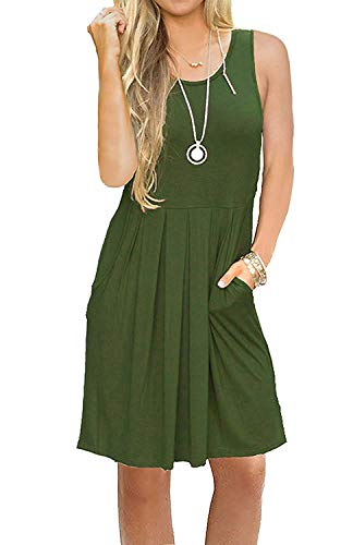 AUSELILY Women's Sleeveless Pleated Loose Swing Casual Dress with Pockets Knee Length (L, 01Army Green)