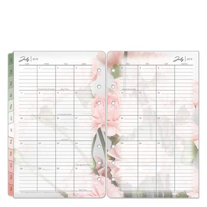 (Compact Blooms Two Page Monthly Ring-Bound Tabs - Jul 2019 - Jun 2020 )