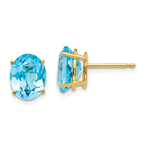 m Oval Blue Topaz Post Stud Ball Button Earrings Gemstone Fine Jewelry For Women Gift Set ()