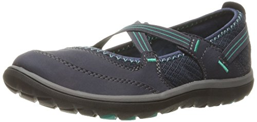 CLARKS Damen Aria Mary Jane Flat Navy Nubuk