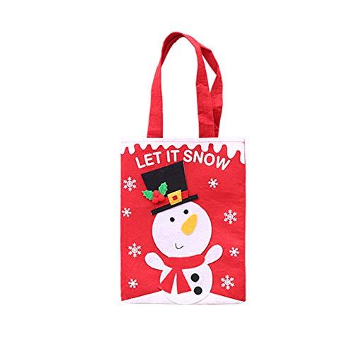 Yinpinxinmao Christmas Snowman Santa Claus Reindeer Candy Bag Handbag Xmas Tree Decor Gift Pouch Snowman