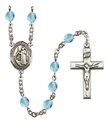 March Birth Month Prayer Bead Rosary with Saint Raymond of Penafort Centerpiece, 19 Inch