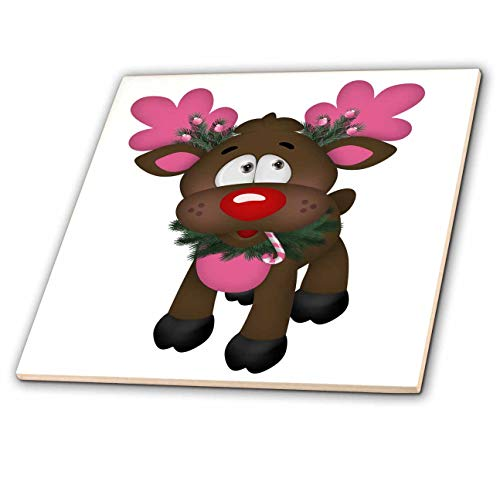 3dRose Anne Marie Baugh - Christmas - Cute Pink and Brown Christmas Reindeer Illustration - 8 Inch Ceramic Tile (ct_318485_3)