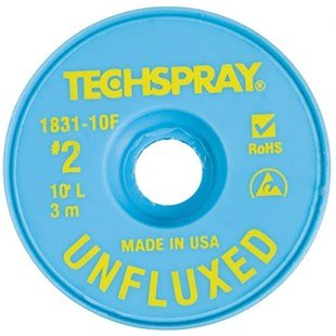Techspray 1831-10F Unfluxed Desoldering Braid, .055 inch, 10ft -2 pack
