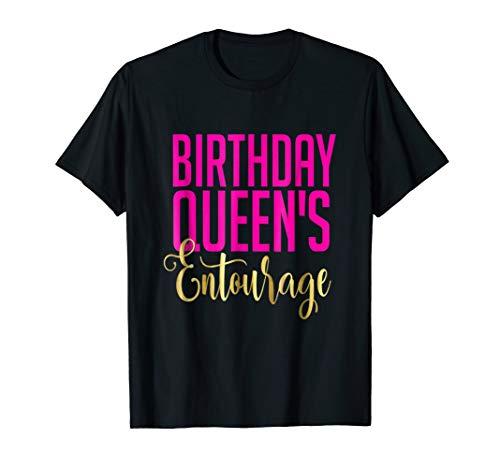 Birthday Queens Entourage Shirt Gift Girly Gold Pink Bestie