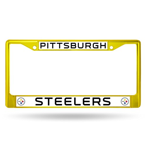 Rico Industries NFL Pittsburgh Steelers Colored Chrome Plate Frame, Yellow