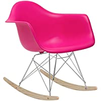POLY & BARK EM-121-FUS-AMA Rocker Lounge Chair, Fuchsia