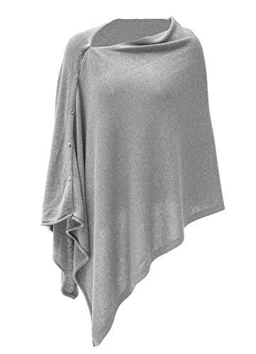 Womens Cashmere Versatile Button Poncho Sweater Lightweight Cape Wraps for Spring Summer Autumn Cloud Grey - Cashmere Wrap Sweater