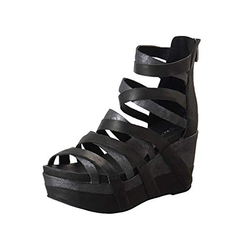 Antelope Women's 857 Black Leather Gladiator Wedge Sandals 37