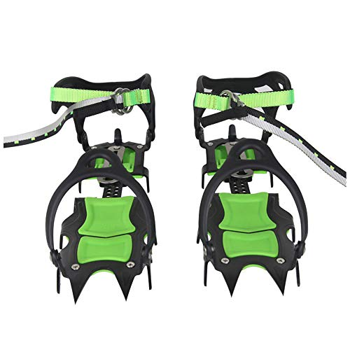 Tentock Professional 14 Teeth Spikes Crampons Ice Snow Traction Cleats Winter Safe Hiking Walking Jogging Fishing Snow Ice Gear (BRS-S1A)