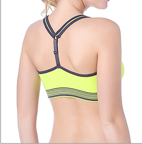 Cliont Mujeres Sports Bra Cross back workout running fitness yoga mujeres inalambricas sin sujetador Amarillo