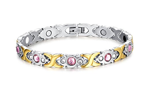 Chang World Titanium Stainless Steel Magnetic Therapy Bracelet With RhinestoneGold
