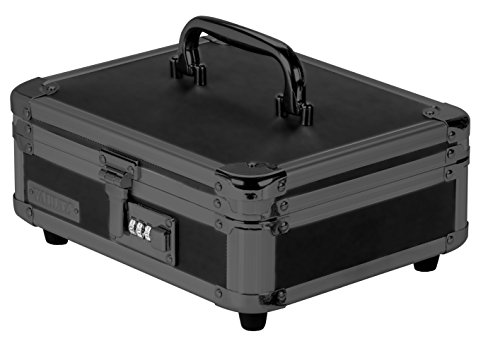 Vaultz VZ00308 Locking Cash Box, Bill and Coin Tray, Combination Lock, 8.5 x 4 x 10 Inches, Tactical Black ()
