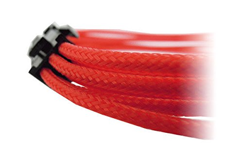 GeLid CA-6P-04 30cm Single Sleeved UV Reactive Red 6-pin PCI-E Power Cable Cord by GELID Solutions Ltd. (Image #2)
