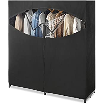 Whitmor Portable Wardrobe Clothes Storage Organizer Closet With Hanging  Rack   Extra Wide  Black Color