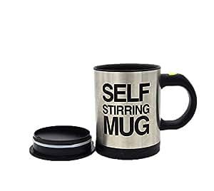 Aolvo Automatical Electric Stirring Coffee Mixing Cup Stainless Coffee Mug Self Stirring Mug(350ml,Black Silver)