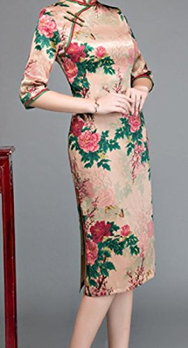3 Picture Chinese Cheongsam Style Sleeve 4 Coolred As Mandarin Collar Floral Women 6xqIwP0B