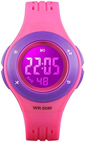 Kids Digital Watch, Boys Sports Waterproof Led Watches with Alarm Wrist Watches for Boy Girls Children Rose Purple