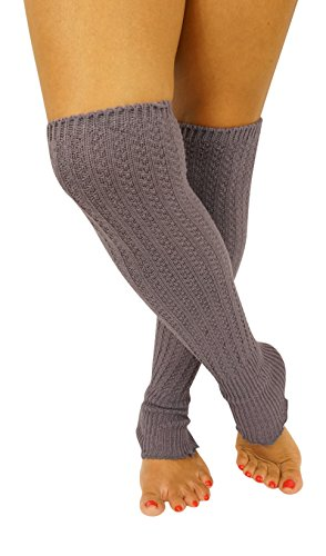 Caribbean Touch Women's Dark Grey Over Knee High Knit Winter Leg Warmer