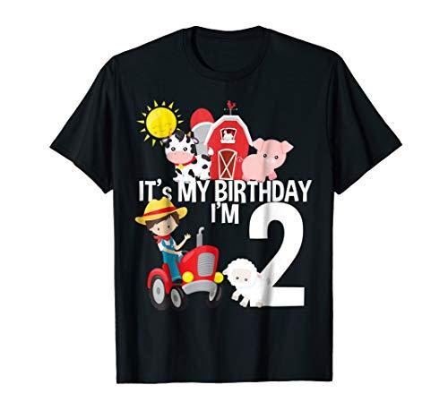 It's My Birthday Farm Theme Birthday Gift 2 Yrs Old Shirt