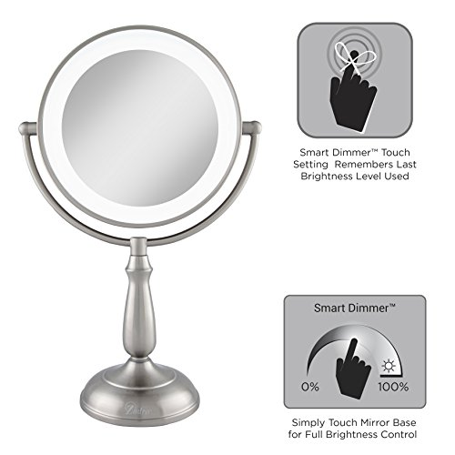 Zadro Satin Nickel Dual Sided Led Lighted Dimmable Touch Vanity Mirror, 12X / 1X Magnification by Zadro (Image #3)