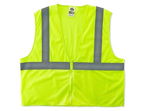 Top GloWear 8205Z ANSI Economy High Visibility Lime Reflective Safety Vest, Zipper Closure, 2XL/3XL hot sale