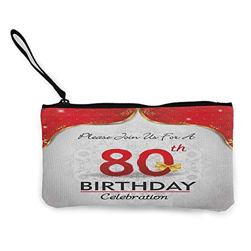 80th Birthday,Women'S Coin Purses Birthday Party Invitation with Abstract Floral Backdrop Elderly W 8.5