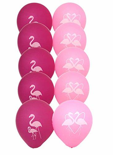 Pink Flamingo Party Latex Balloons - Luau Birthday Hawaiian Party Balloons for Girls, Set of 10 -