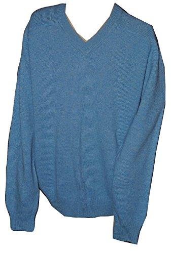 Victoria Men's Shetland Wool Crew Neck Sweater Blue Sky Medium