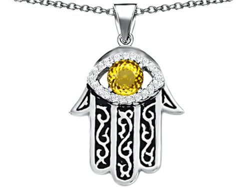 Star K Good Luck Hamsa Evil Eye Protection Pendant Necklace with Round Simulated Citrine Sterling Silver ()