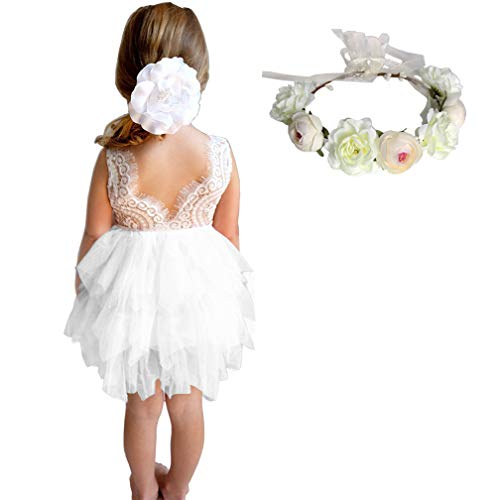 (MY-PRETTYGS Girl Sleevless Beaded Peony Lace Tutu Dress,Backless Design Flower Dress with Wreath Headband (White,)