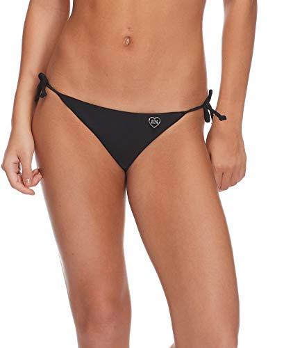 Body Glove Women's Smoothies Iris Solid Tie Side Bikini Bottom Swimsuit, Black, Medium