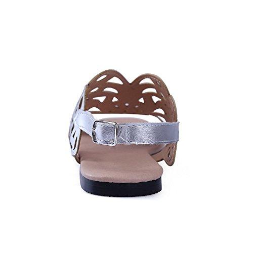 AllhqFashion Mujeres Puntera Descubierta Hebilla Sólido Sandalias de vestir con Metal Plateado