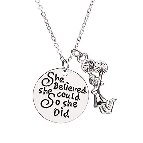 Sportybella Cheer Charm Necklace - Cheer She Believed She Could So She Did Jewelry, for -