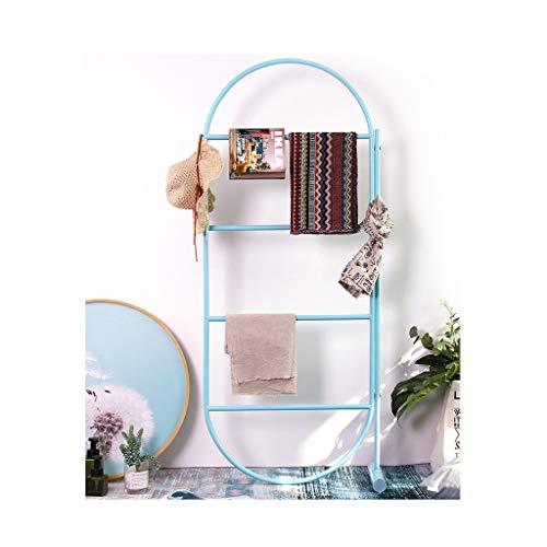 Freestanding Floor Ring - Towel Rack Stand, Floor Standing Multi-Function Clothes Storage Rack,Indoor/Outdoor Coat Racks, 26x61.4 inch, Metal Hallway Furniture (Color : Blue)