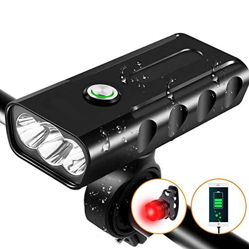 USB Rechargeable Bike Light - Headlight & Tail Light Set- Waterproof, Runtime 10 Hours1500 Lumens for Kids Men Women Road Cycling Safety Flashlight