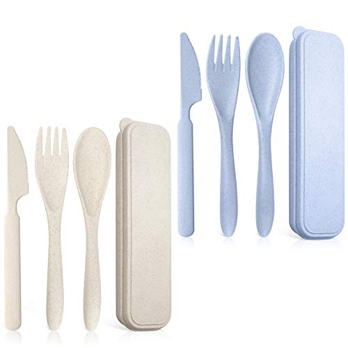 Teivio Reusable Portable Travel Utensils Silverware Forks Spoons & Knives Set of 2 for Camping Wheat Straw Plastic with…