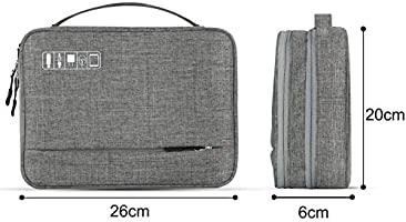 E-Book Kindle 12-inch MacBook Vivefox Double Layer Travel Cable Organizer Electronic Accessories Storage Bag for Cables iPad - Earphone Flash Hard Drive Electronics Organizer Gray