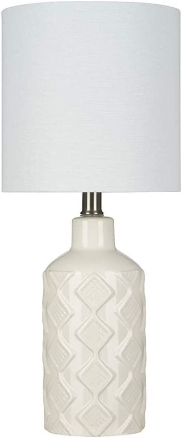 "Ravenna Home Table Lamp with Diamond Pattern on Ceramic Base, Bulb Included, 18.25""H, Cannoli Cream"