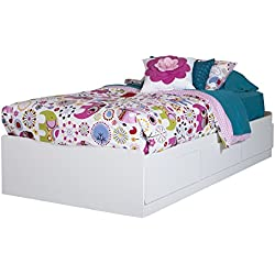 "South Shore Basic 10574 39"" Mates Bed with 3 Drawers, Twin, Pure White"