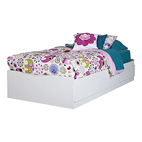 South Shore Logik Twin Mates Bed (39'') With 3 Drawers, Pure White - Bed 5 Drawers