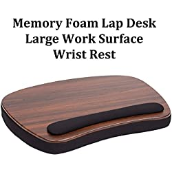 Sofia + Sam Oversized Memory Foam Lap Desk (Wood Top) | Supports Laptops Up To 20 Inches