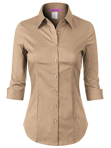 Design by Olivia Women's 3/4 Sleeve Stretchy Button Down Collar Office Formal Casual Blouse Shirts Top Light Khaki 1XL