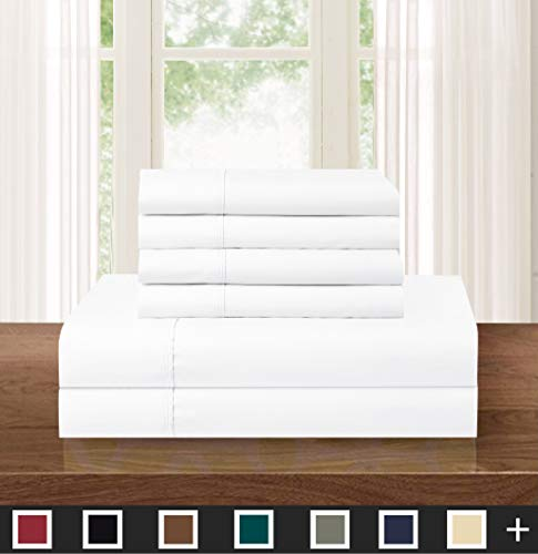 Elegant Comfort Luxurious Soft 1500 Thread Count Egyptian 6-Piece Premium Hotel Quality Wrinkle and Fade Resistant Coziest Bedding Set, Easy All Around Elastic Fitted Sheet, Deep Pocket, King, White