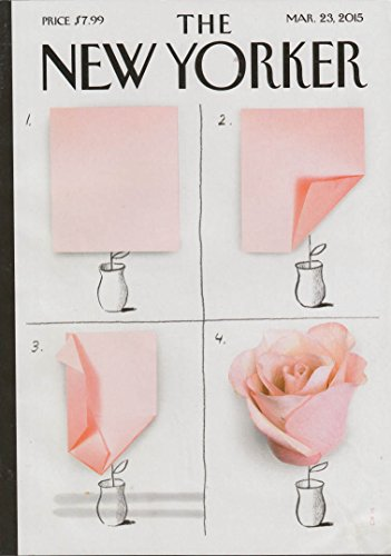 New Yorker cover 3/23 2015 Niemann: origami rose in four panels ()