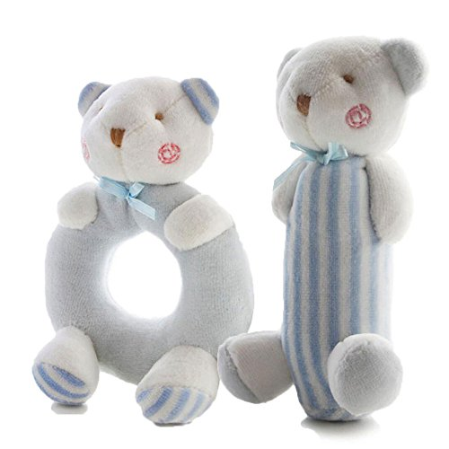 FOREAST 2 Pcs Rattle Set Soft Plush Baby Toys Newborn Gift 0